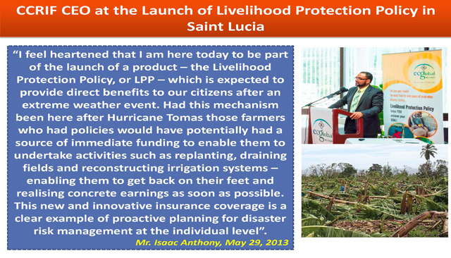 CCRIF CEO at the Launch of Livelihood Protection Policy in Saint Lucia