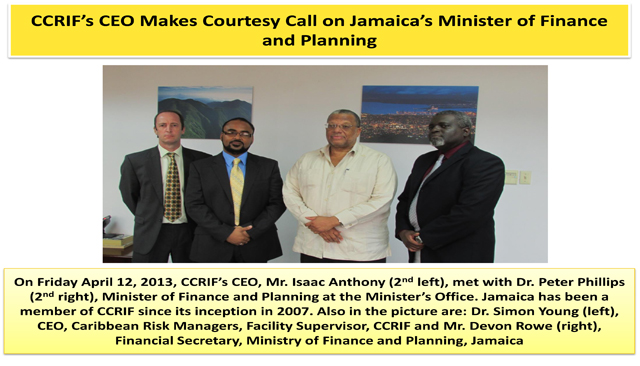 CCRIF's CEO Makes Courtesy Call on Jamaica's Minister of Finance and Planning