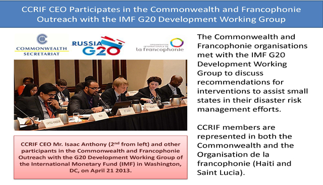 CCRIF CEO Participates in the Commonwealth and FrancophonieOutreach with the IMF