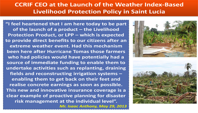 CCRIF CEO at the Launch of the Weather Index-Based Livelihood Protection Policy