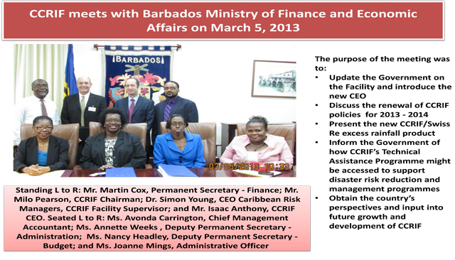 CCRIF meets with Barbados Ministry of Finance and Economic Affairs