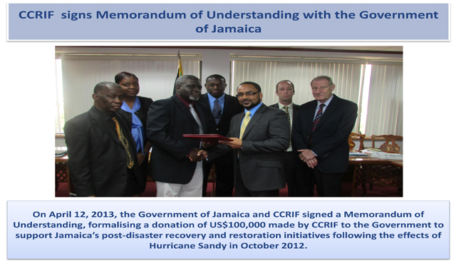 CCRIF signs Memorandum of Understanding with the Government of Jamaica