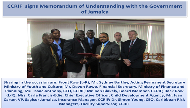 CCRIF signs MoU with the Government of Jamaica Group Picture