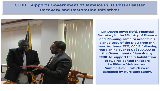 CCRIF Supports Government of Jamaica in its Post-Disaster Recovery and Restorati