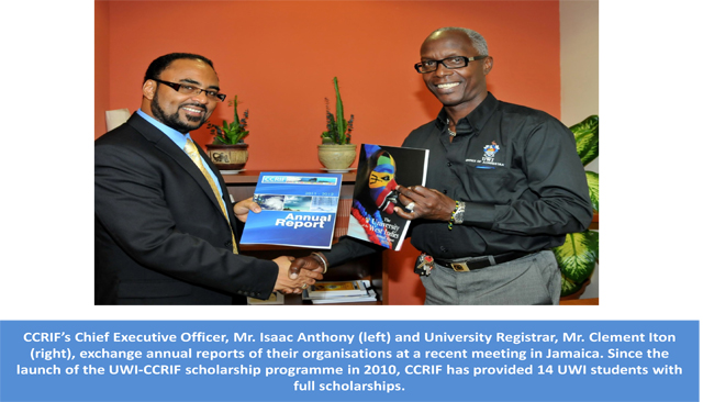 CCRIF CEO and UWI Registrar exchange annual reports of their organisations