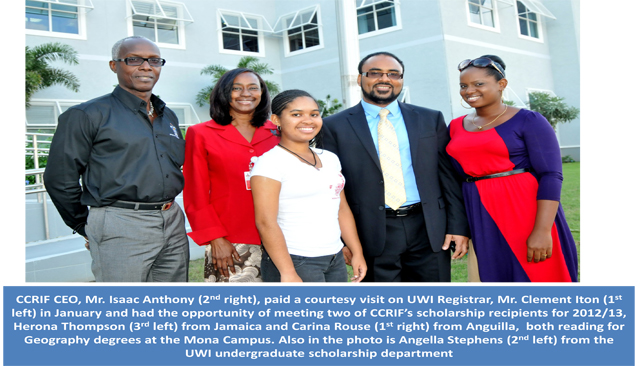 CCRIF CEO meet two of CCRIF's scholarship recipients for 2012/13