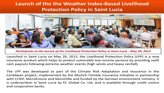 Launch of the theWeather Index-Based Livelihood Protection Policy in Saint Lucia
