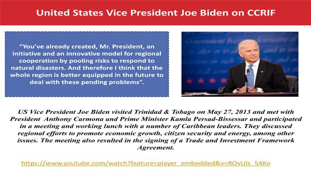 United States Vice President Joe Biden on CCRIF