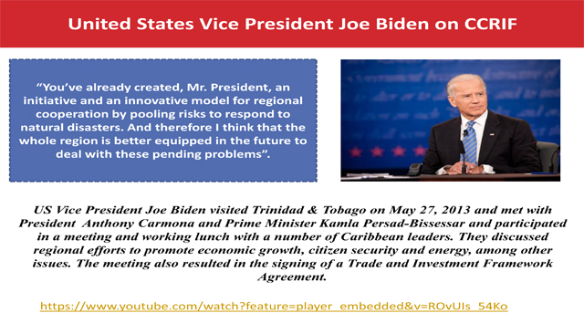 United States Vice President Joe Biden on CCRIF