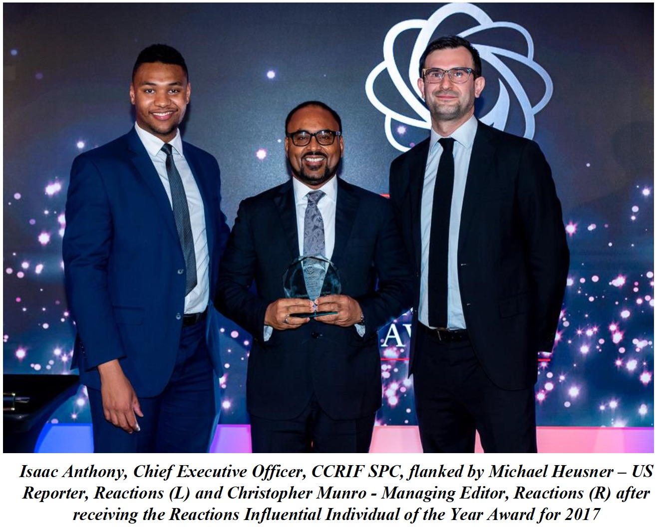 CCRIF CEO Isaac Anthony Receives Reactions Influential Individual of the Year Award 2017