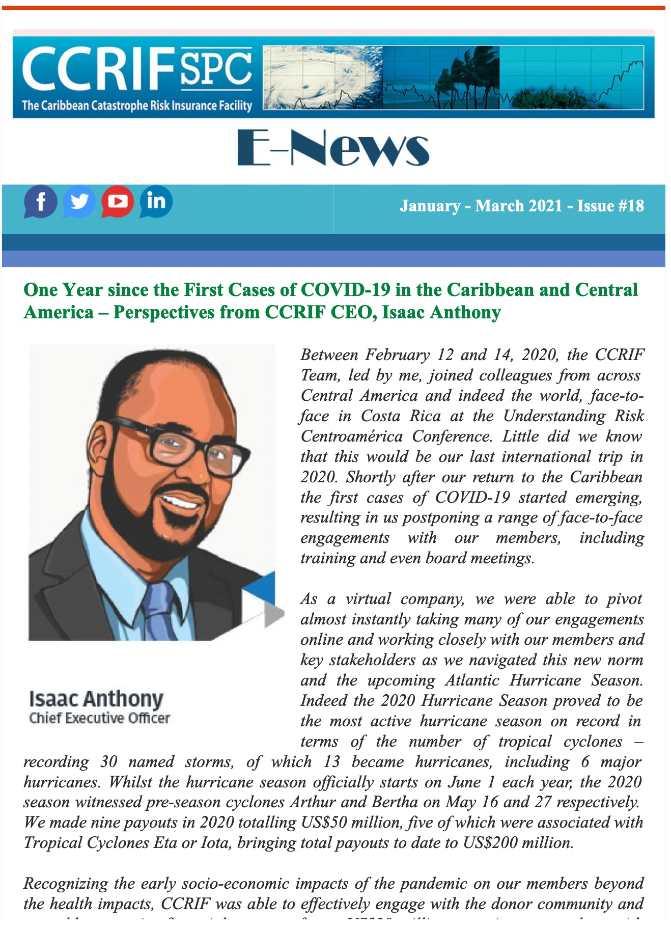 CCRIF SPC - E-News - January/March 2021